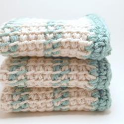 Dish Cloths 100% Cotton Off White and Turquoise